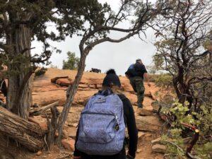 Two hikers climbing Bear Mountain